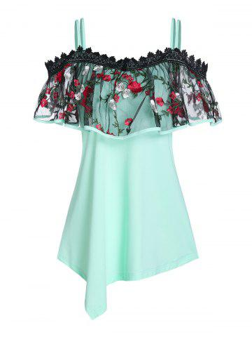 Open Shoulder Lace Panel Strappy T-shirt - LIGHT GREEN - 2XL