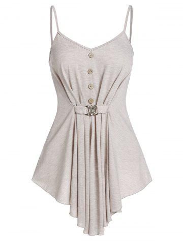 Sweetheart Collar Button Embellished Tank Top