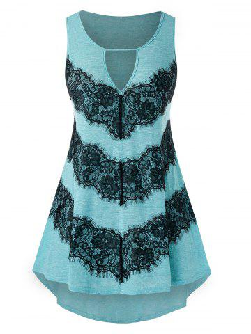 Plus Size Lace Insert High Low Keyhole Tank Top - MEDIUM TURQUOISE - 4X