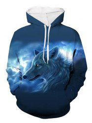 Wolf Printed Pouch Pocket Hoodie -