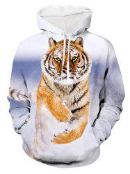 Tiger Printed Pouch Pocket Hoodie -