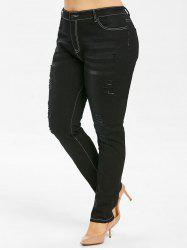 Plus Size Distressed Skinny Jeans -