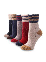 5Pairs Confetti Striped Pattern Socks Set -