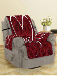 Valentines Day Love Heart Rose Flowers Patterned Couch Cover -