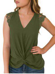 Lace Panel Twisted Plunging Tank Top -