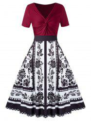 Plus Size Knot Splicing Flower Printed Dress -