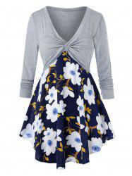 Plus Size Flower Print Twisted Long Sleeve Tunic Tee -