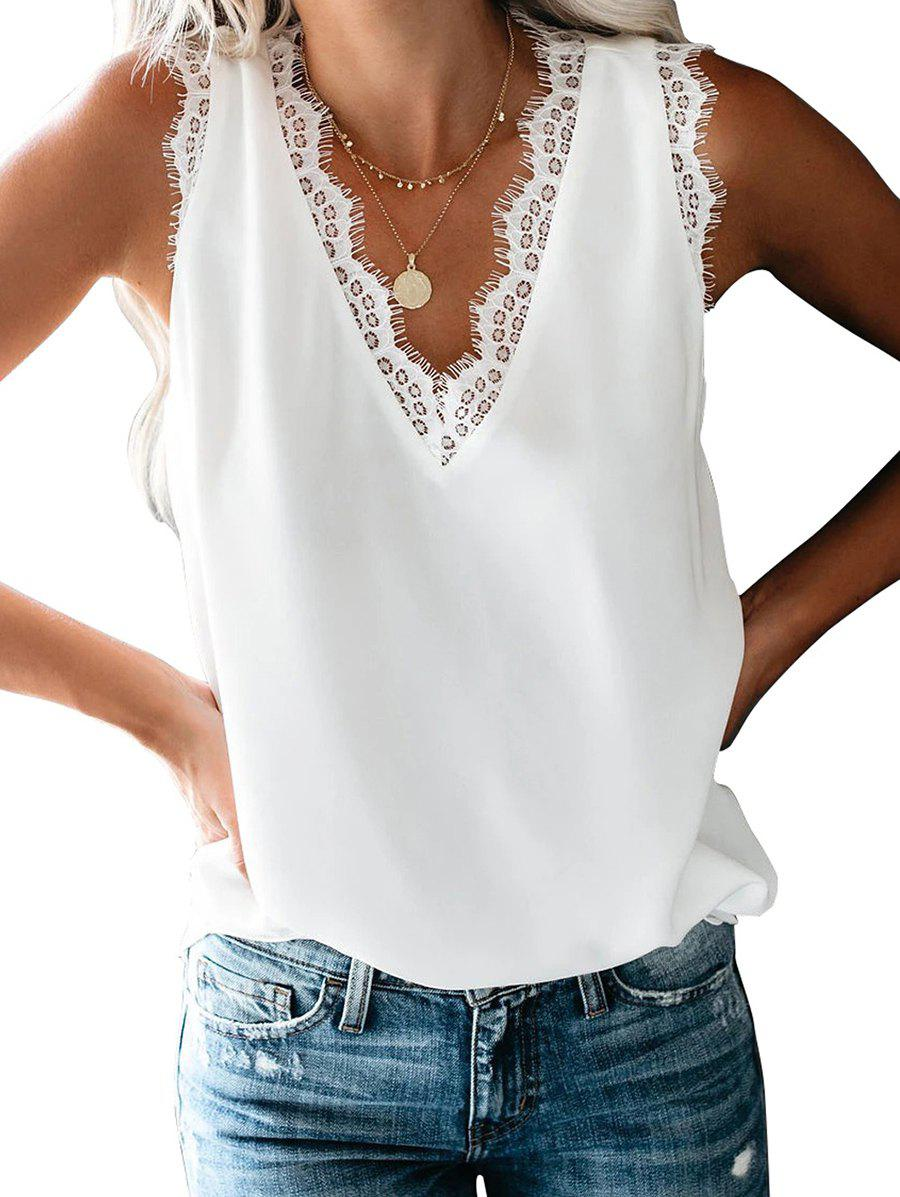 Latest Lace Panel Low Cut Tank Top