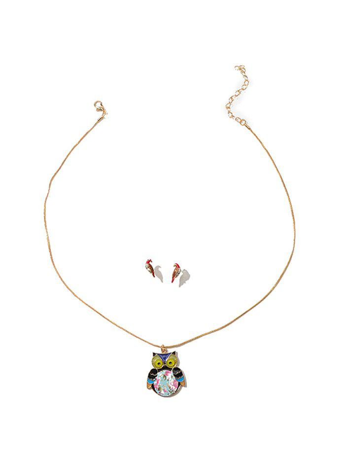 Cheap Rhinestone Owl Necklace with Parrot Earrings