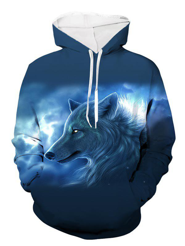 Online Wolf Printed Pouch Pocket Hoodie