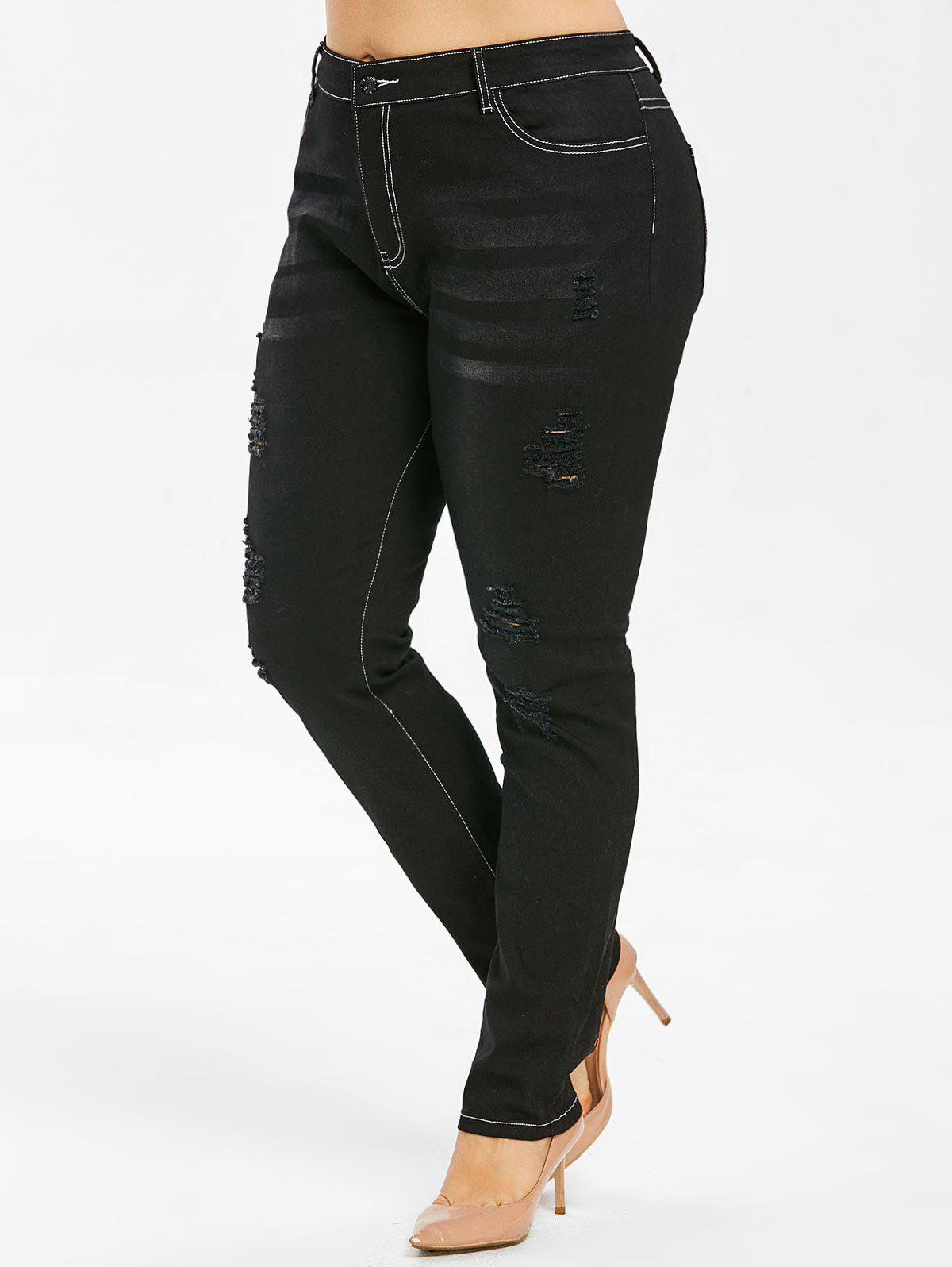 Fashion Plus Size Distressed Skinny Jeans