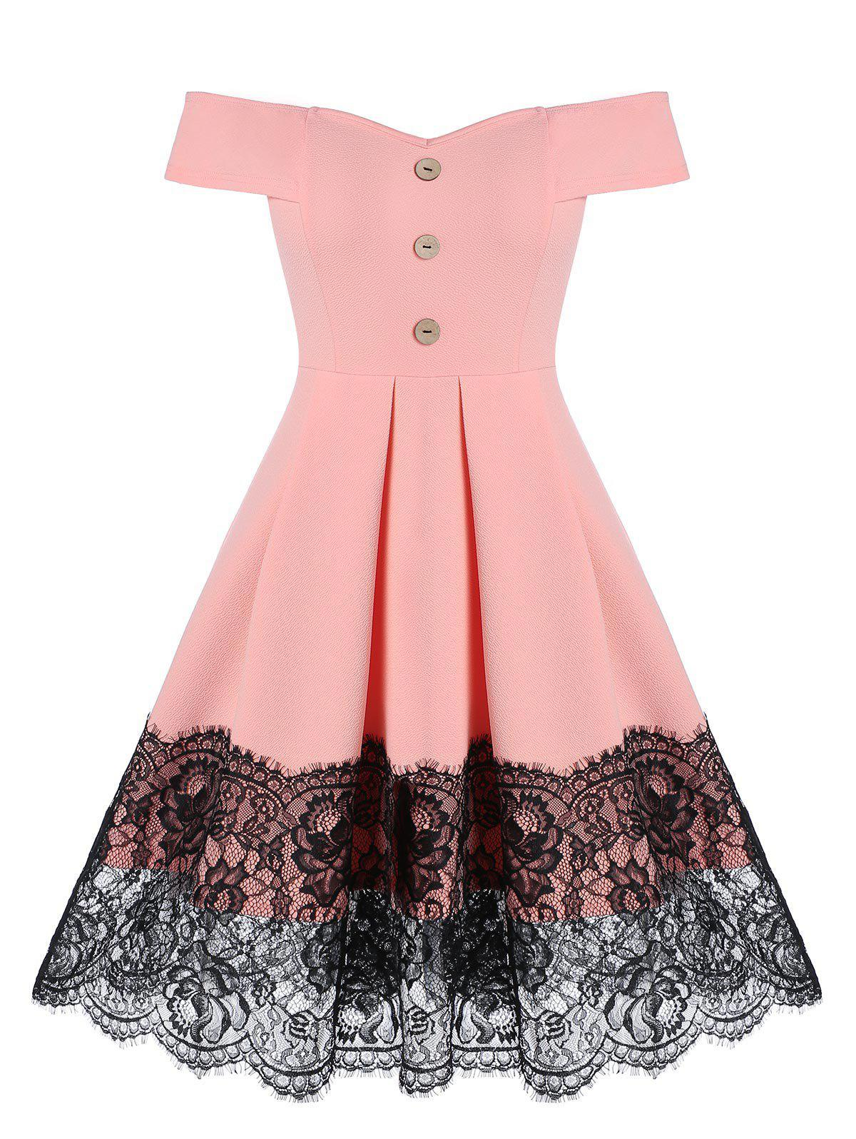 Store Off the Shoulder Lace Insert Mock Button Flare Dress