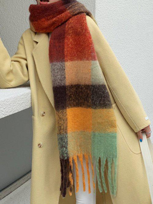 Buy Faux Cashmere Colorblock Plaid Fringed Scarf