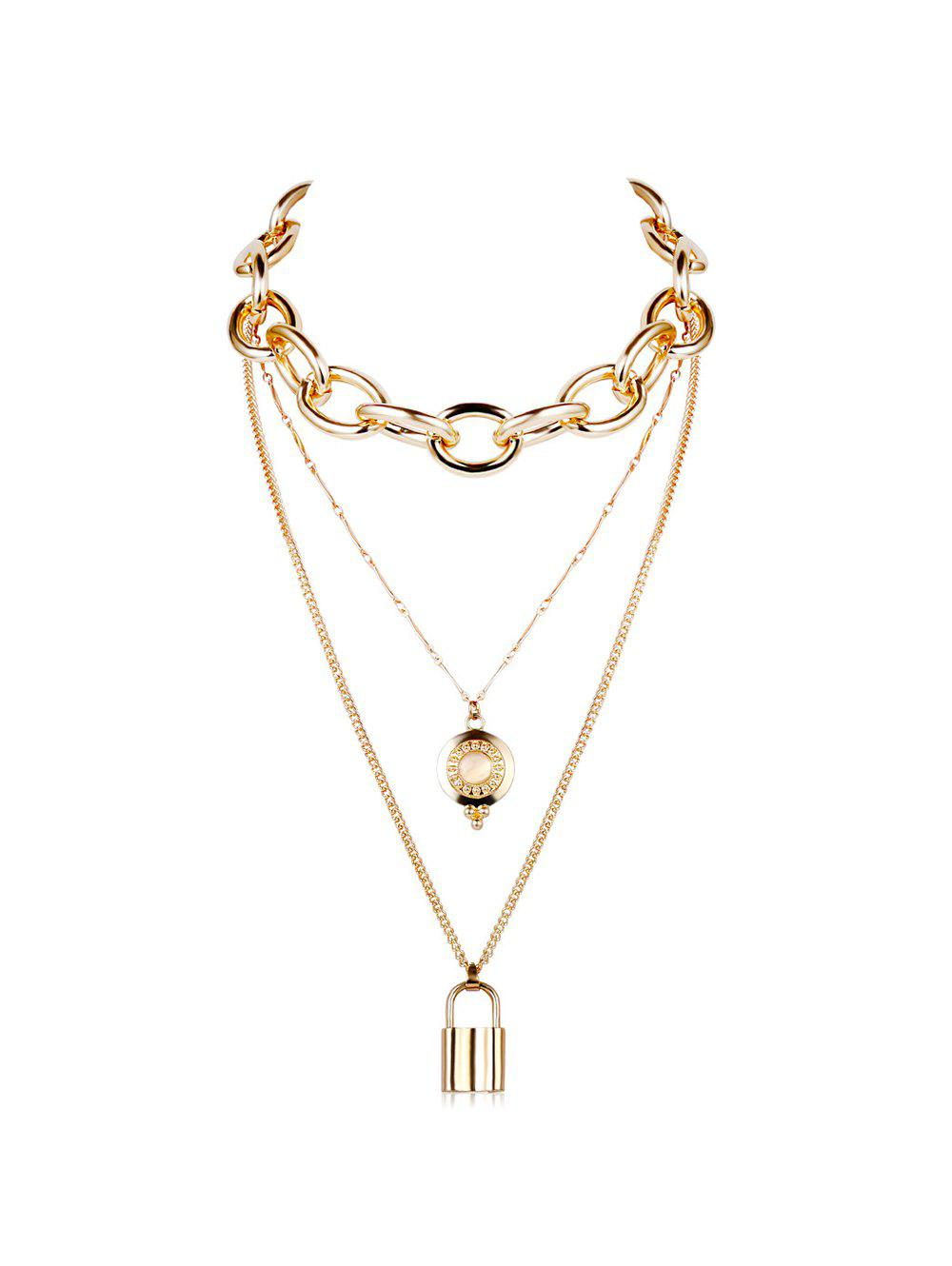Outfits Punk Key Lock Pendant Multilayered Chain Necklace