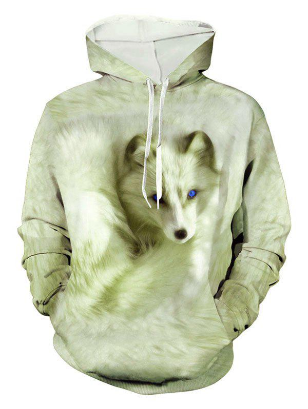 Chic Casual Fox Print Pouch Pocket Hoodie