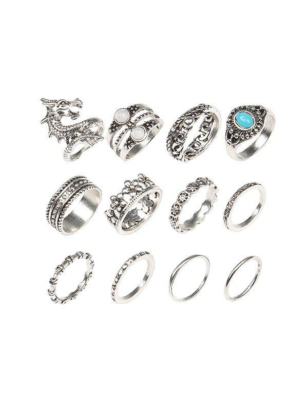12 Piece Dragon Floral Faux Turquoise Finger Rings Set, Silver