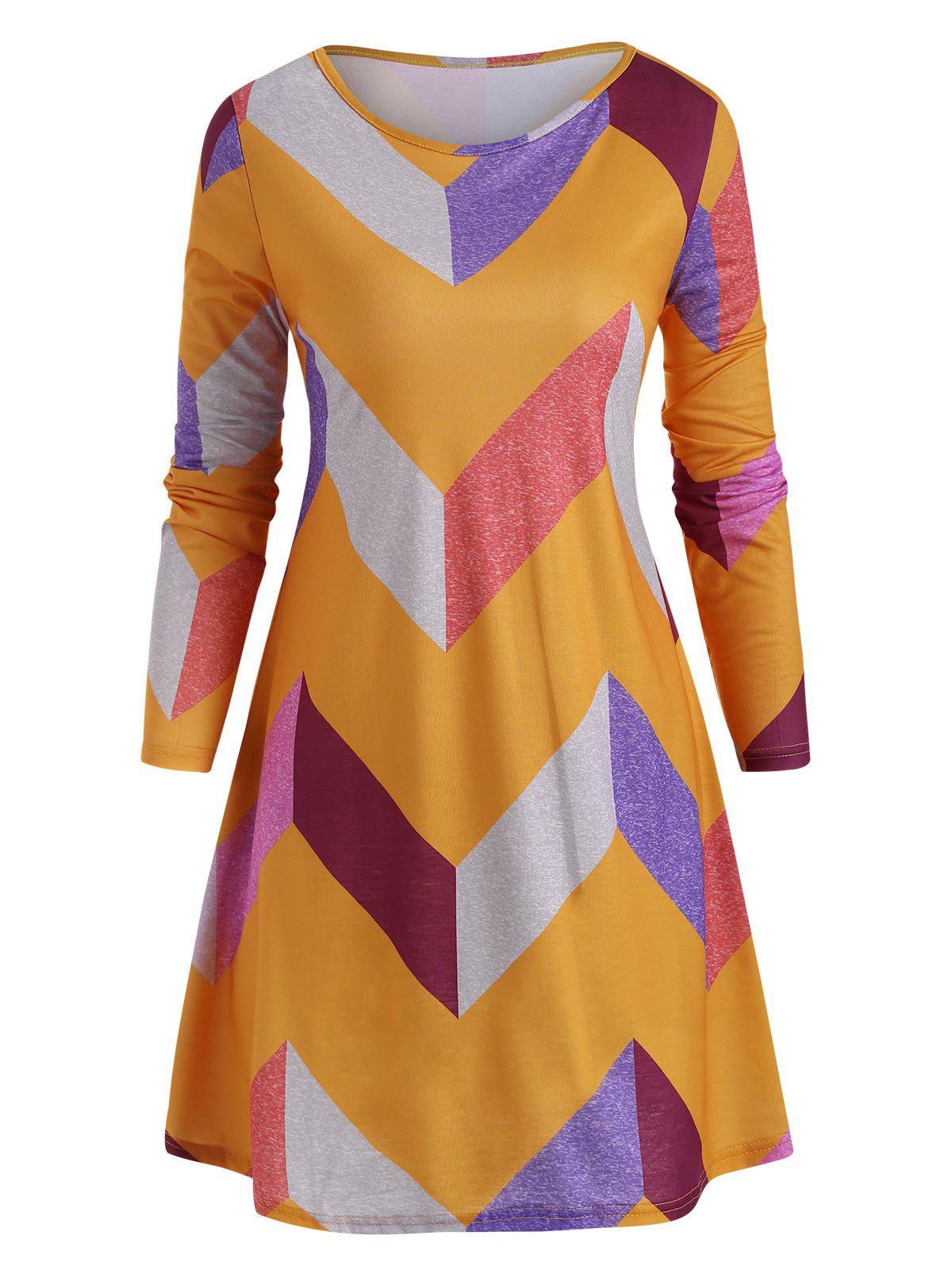 Chic Geometric Colorblock Long Sleeve Tunic Dress
