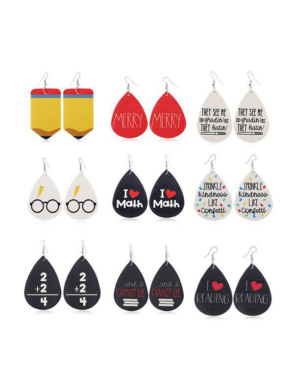 Unique 9 Pairs Water Drop Letter Leather Earrings Set