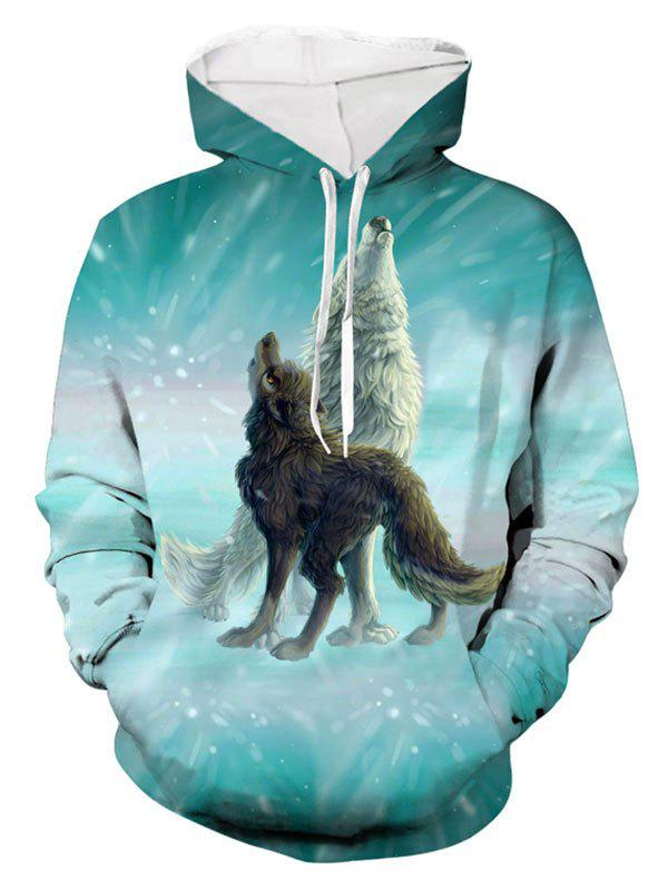 Affordable Animal Wolf Print Pocket Hoodie