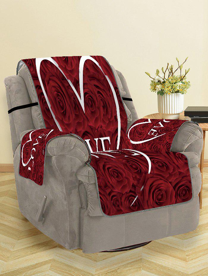 Affordable Valentines Day Love Heart Rose Flowers Patterned Couch Cover