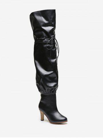 Leather | Thigh | Boot | Heel | High | Tie | Up | Ty