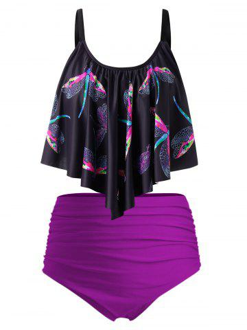 Plus Size Dragonfly Print Draped Ruched Tankini Swimsuit - MULTI - 5X