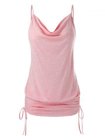 Plus Size Cinched Cowl Neck Cami Top - LIGHT PINK - L