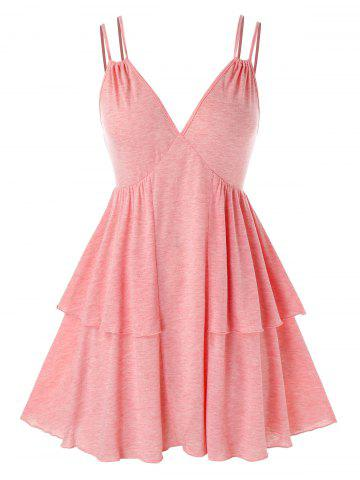 Plus Size Solid Color Layered Cami Tank Top - PINK - 3X