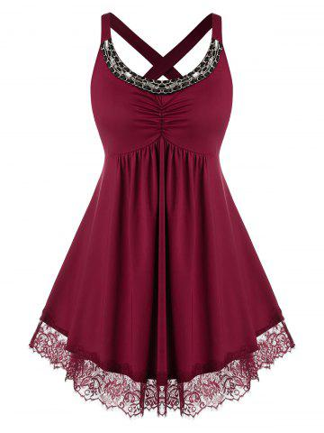 Plus Size Lace Panel Cross Chains Rhinestone Tunic Tank Top - RED WINE - 4X