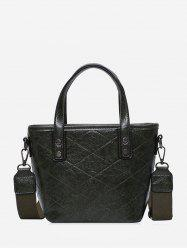 Rhombic Line Big Leather Tote Bag -