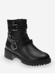 Dual Buckle Chunky Heel Leather Ankle Boots -