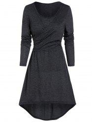 Heathered Knotted Wrap High Low Dress -