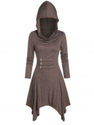 Hooded Button Ruched Handkerchief Casual Dress -