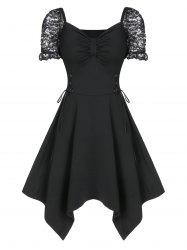 Sweetheart Neck Ruched Lace Up Asymmetrical Dress -