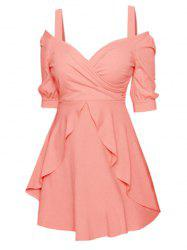 Froid épaule Overlay Robe patineuse - Rose  XL