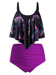 Plus Size Dragonfly Print Draped Ruched Tankini Swimsuit -