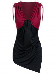Asymmetric Plunge Neck Cinched Contrast Tank Top -
