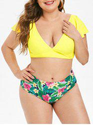 Plus Size Plunge Flutter Sleeve Tropical Bikini Swimsuit -
