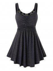 Plus Size Beading Backless Ruched Tunic Tank Top -