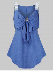 Plus Size Sequined Guipure Straps Bowknot Tank Top -