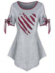 Valentine Heart Pattern Ripped Bowknot Marled T-shirt -