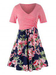 Plus Size Cinched Top and Floral Cami Dress -