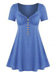Plus Size Mock Button Frilled Sweetheart Neck Tunic Tee -