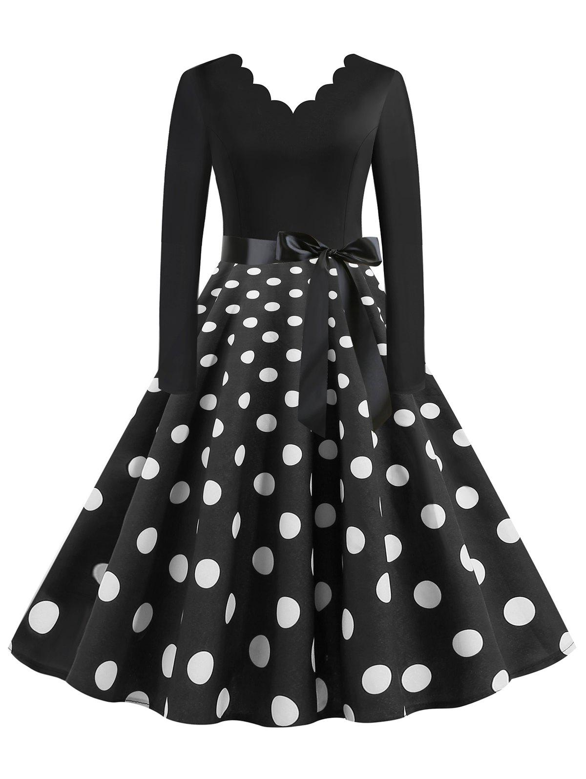 Outfits Scalloped Trim Polka Dot Plus Size Belted Rockabilly Dress
