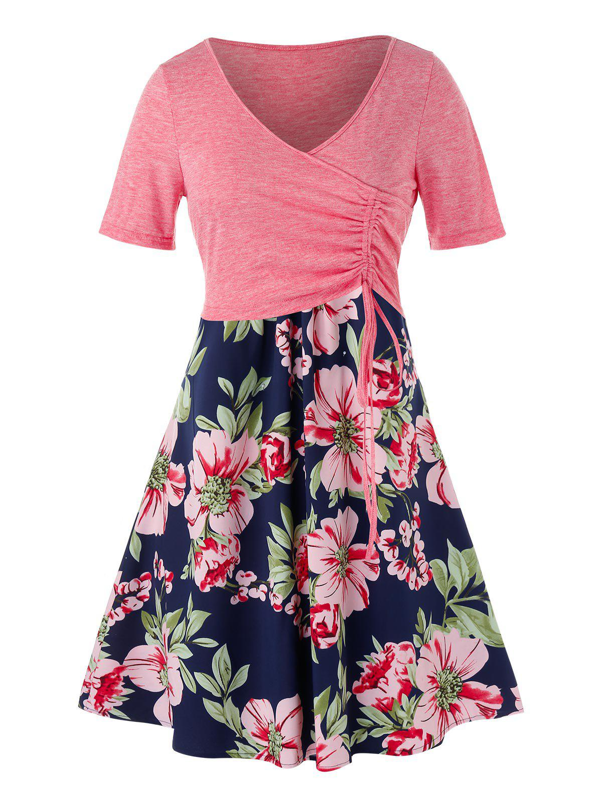 Plus Size Cinched Top and Floral Cami Dress фото