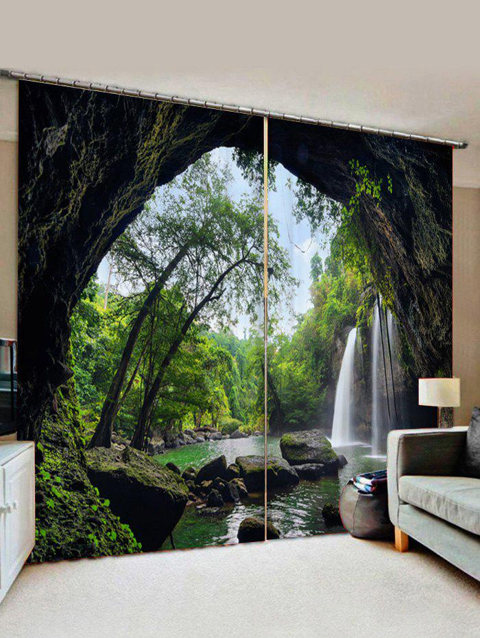Unique 2 Panels Forest Waterfall Cave Print Window Curtains