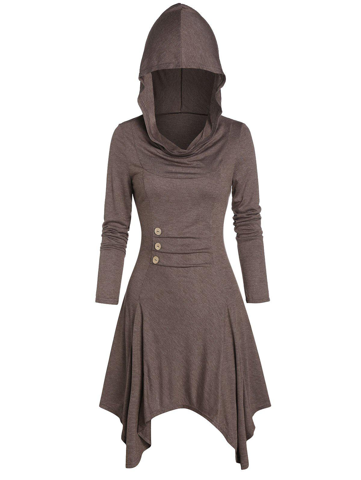 Discount Hooded Button Ruched Handkerchief Casual Dress