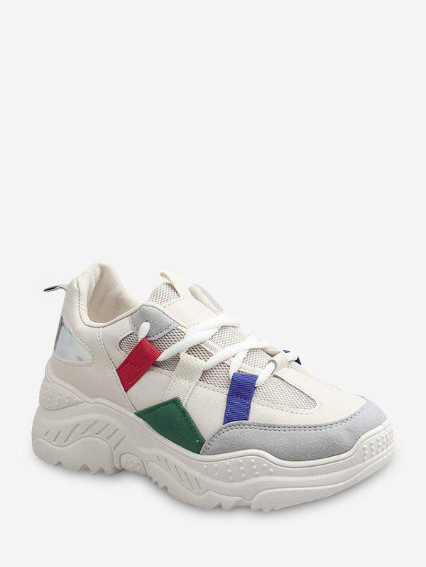 Chic Color-blocking Laser Panel Dad Sneakers
