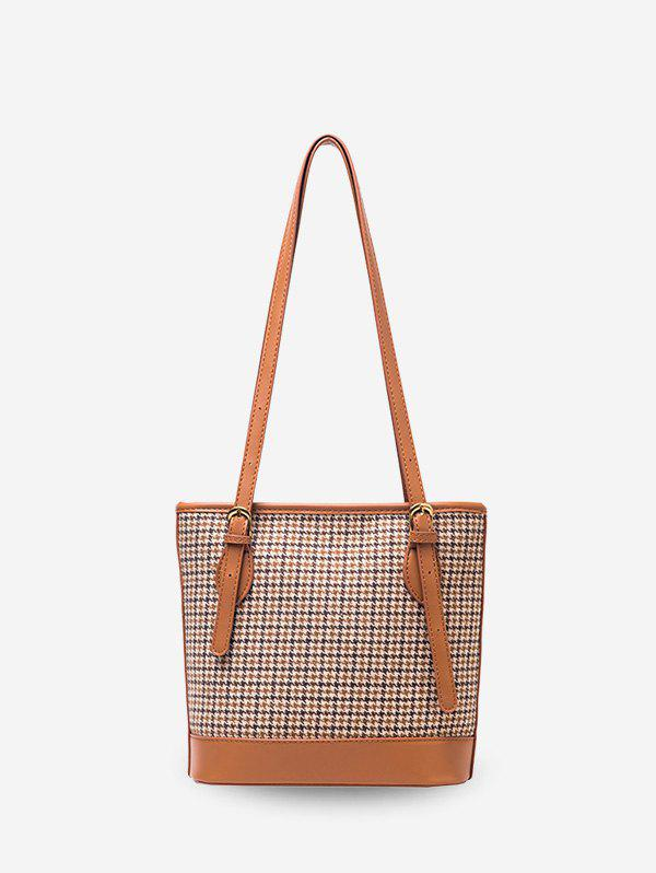 Outfits Houndstooth Print Double Shoulder Bucket Bag