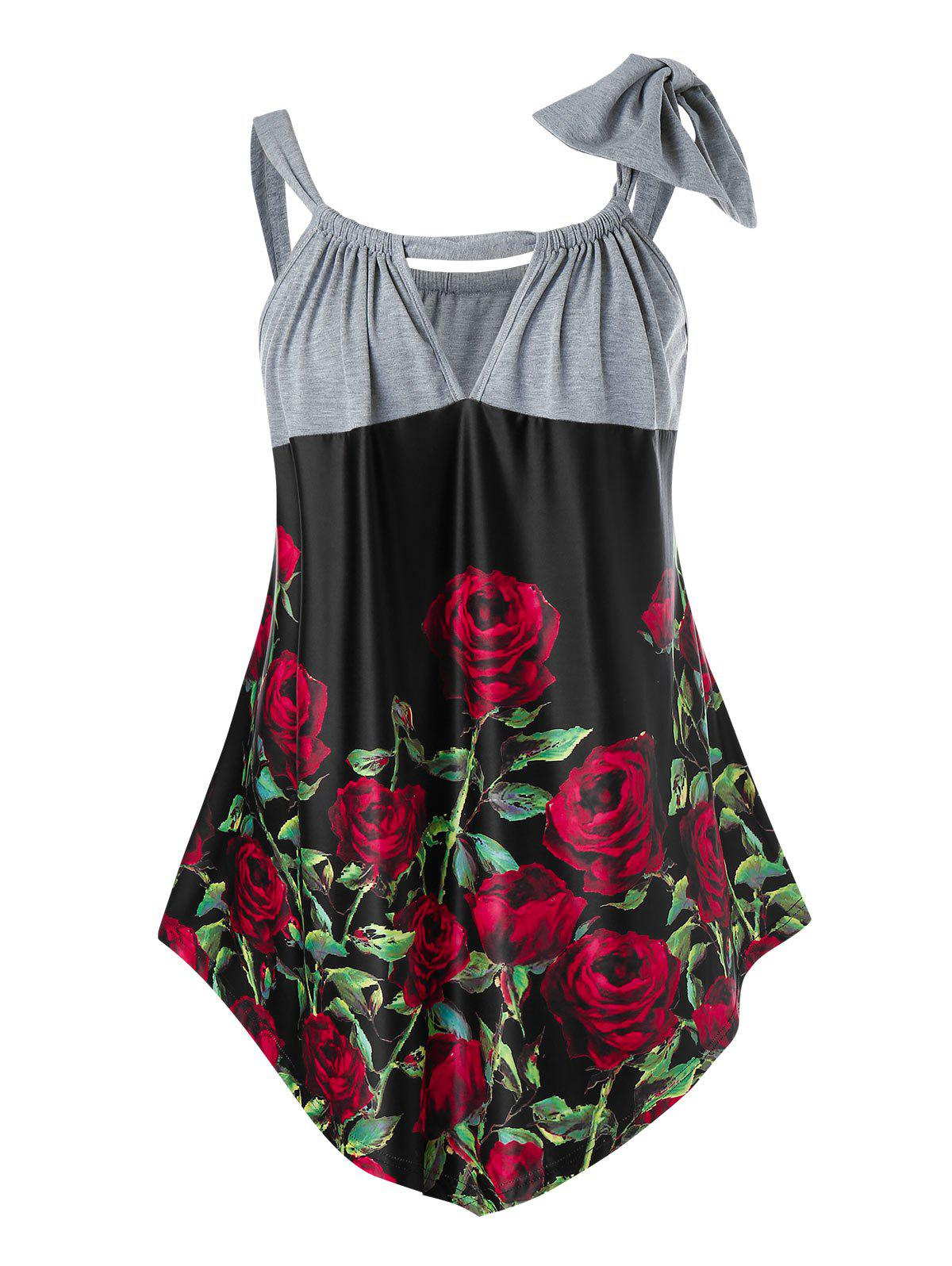 New Plus Size Rose Print Bowknot Keyhole Tank Top